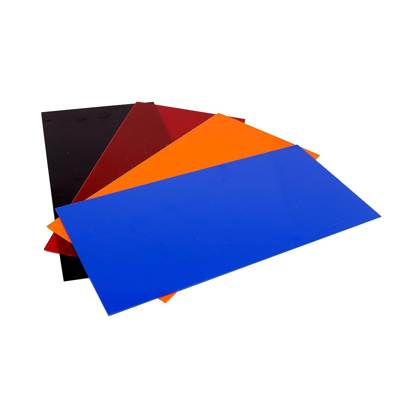 "G10 Spacer 5"" X 10"" X 1/32"" Handle Material for knife making & gun making, (Complete Kit: Black, Blue, Orange, Red)"