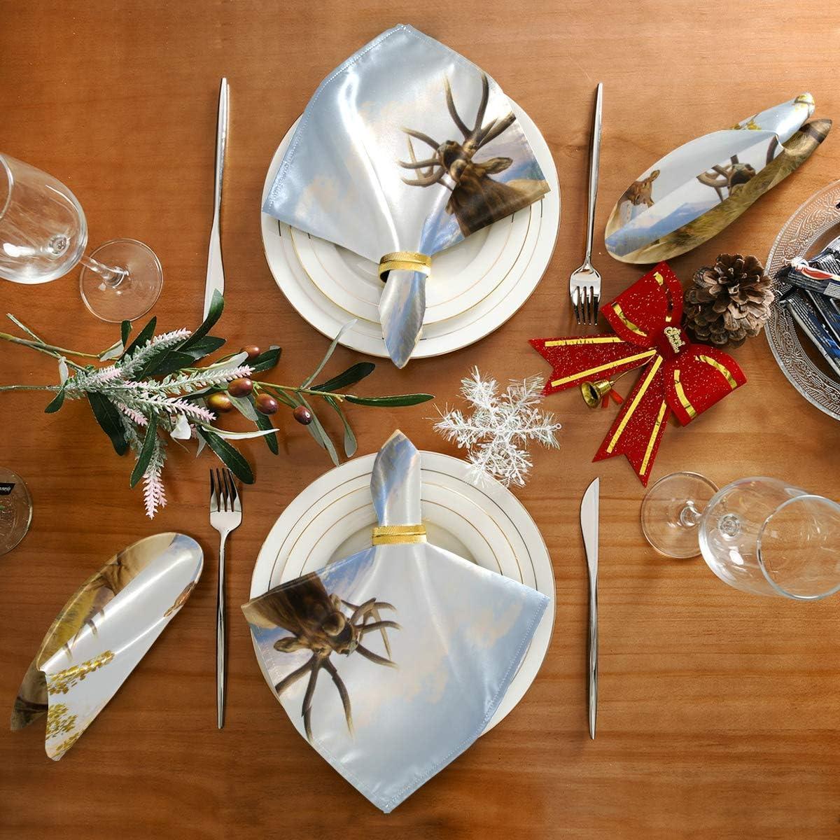 20x20 pouces pour les mariages Cocktail d/îner polyester ensemble de 1 r/éutilisable herbe de cerf impression serviette carr/é