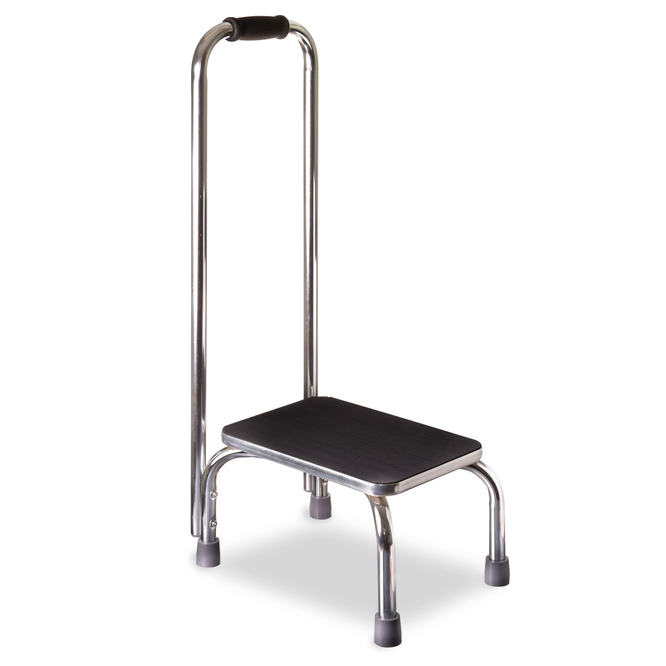 DMI Step Stool with Handle for Adults and Seniors, Heavy Duty Metal Stepping Stool for High Beds, Portable Foot Step Stool for Elderly, 300 lb Weight by Duro-Med