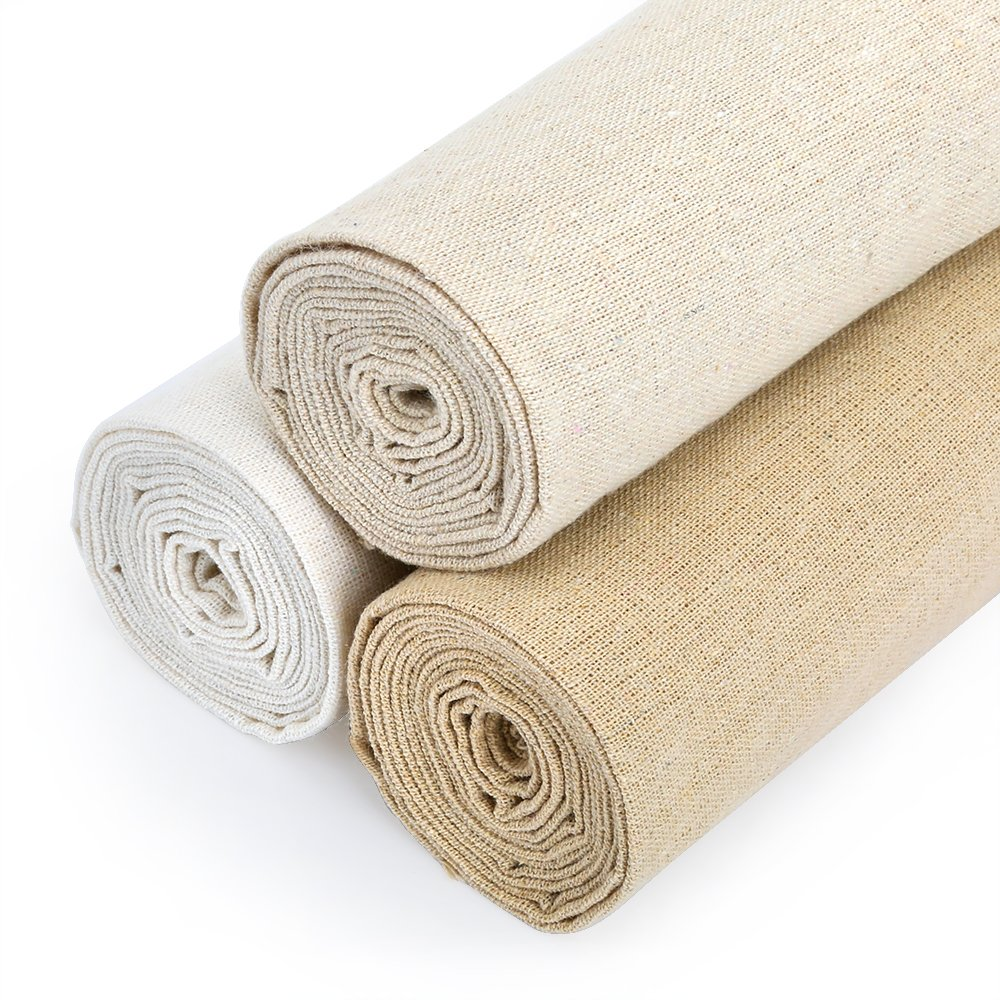 Caydo 3 Pieces 3 Colors Linen Needlework Fabric for Garment Craft, 62 by 19 Inch 4336930822