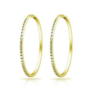 ff48b084f Gold 50mm Hoop Earrings with Crystals from Swarovski: Amazon.co.uk:  Jewellery