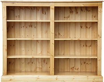Madera de pino maciza mueble para libros, trabajada a mano 121,92 cm x 152,4 cm de almacenamiento de encerado multi-propósito de ajustable estantería ...