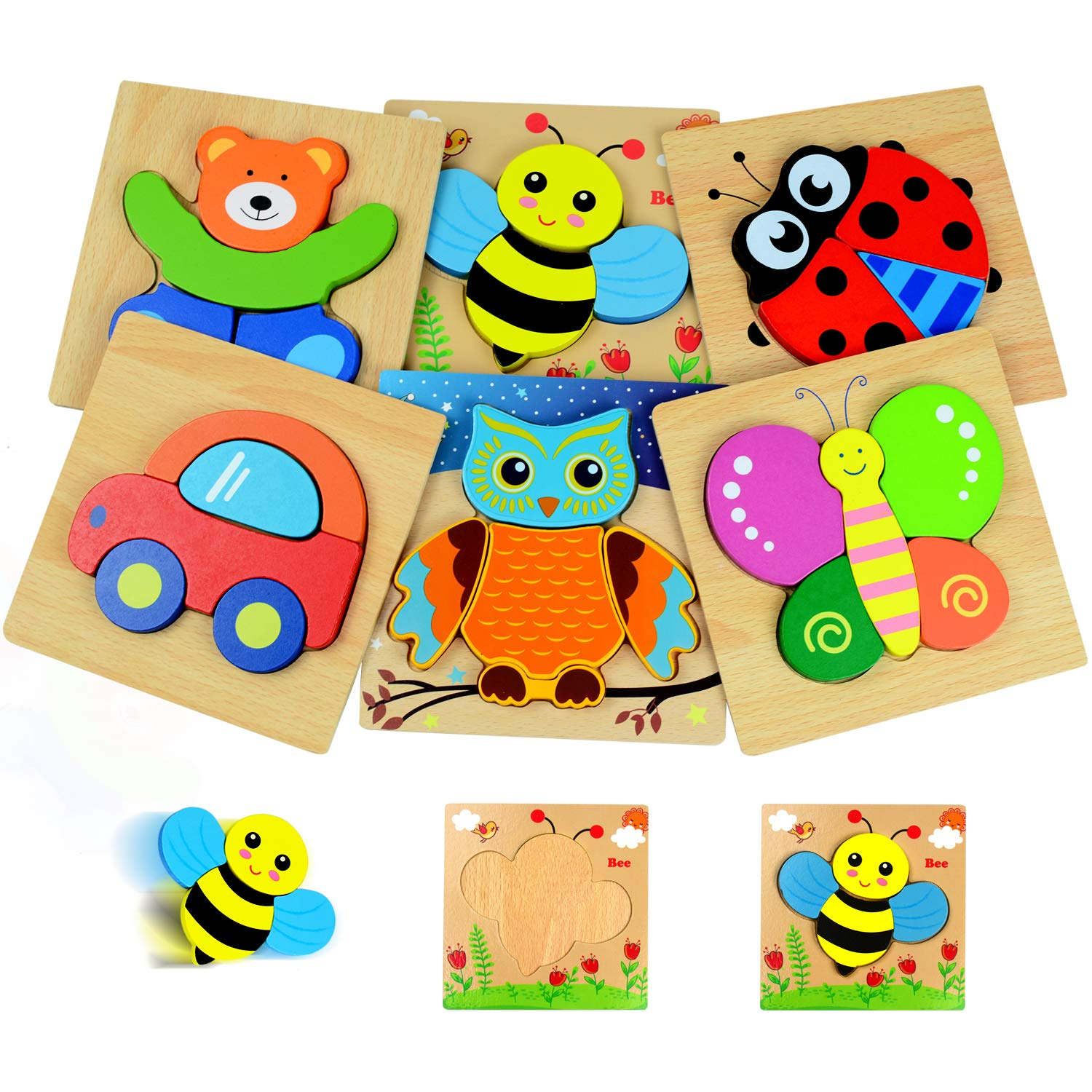 Kulariworld 6 Pieces Wooden Puzzles Toys for Toddlers Boys Girls Kids 1 2 3 Years Old Preschool Gift by Kulariworld