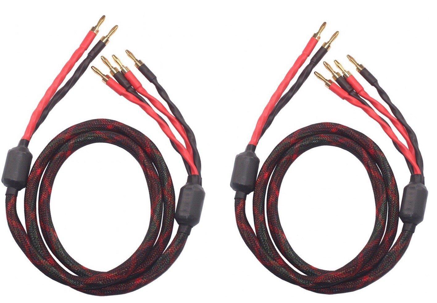 k4B-2B Bi-Wire Speaker Cable (2 banana plugs - 4 banana plugs), 1pair set (total 12banana plugs), k4B-2B (3M(9.8ft)) by KK Cable