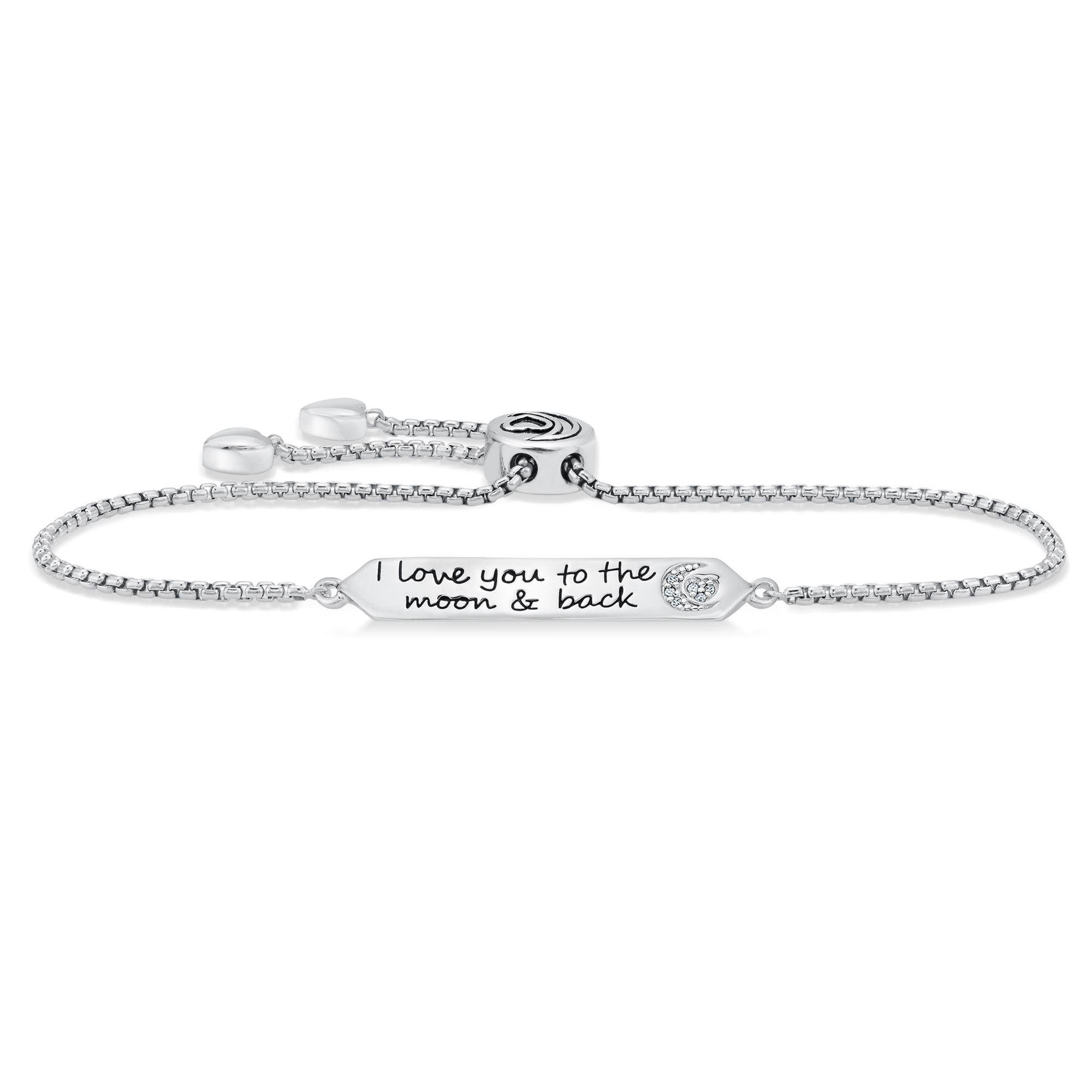 Sterling Silver I Love You to the Moon and Back Bolo Bracelet