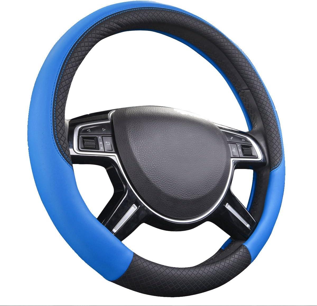 Fit for Suvs,Trucks,Cars,Sedans,Vans CAR PASS Rhombus Leather Universal Steering Wheel Cover Black and Blue