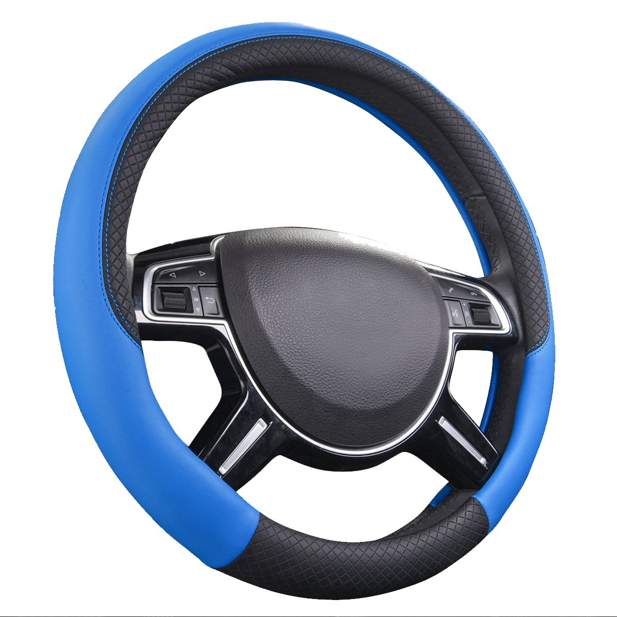 CAR PASS NEW ARRIVAL Rhombus Leather Universal Steering Wheel Cover fit for vehicles, Suv (Black And Black) LJ