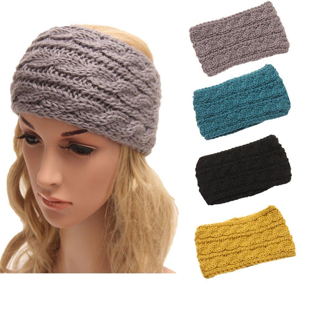 4 Pack Women Elastic Turban Head Wrap Headband Twisted Hair Band H1