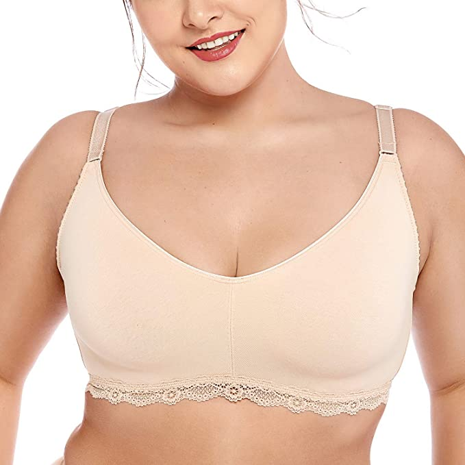 1c5d15f8f99 DELIMIRA Women s Lace Soft Wirefree Non Padded Full Coverage Cotton Bra  Plus Size Beige 34B