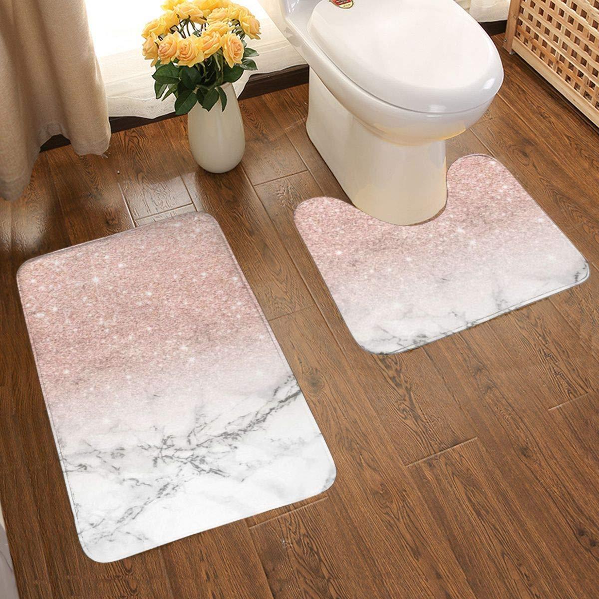 2 Piece Bathroom Rug Set Modern Rose Gold Pink Glitter White Marble Bath Mat Set Soft Non Slip Bath Mat 80 x 50 cm and U-Shaped Toilet Floor Rug Water Absorbent Door Mat