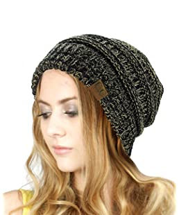 NYFASHION101 Unisex Multicolor Warm Cable Knit Thick Slouch Beanie Cap, Black/Dark Beige