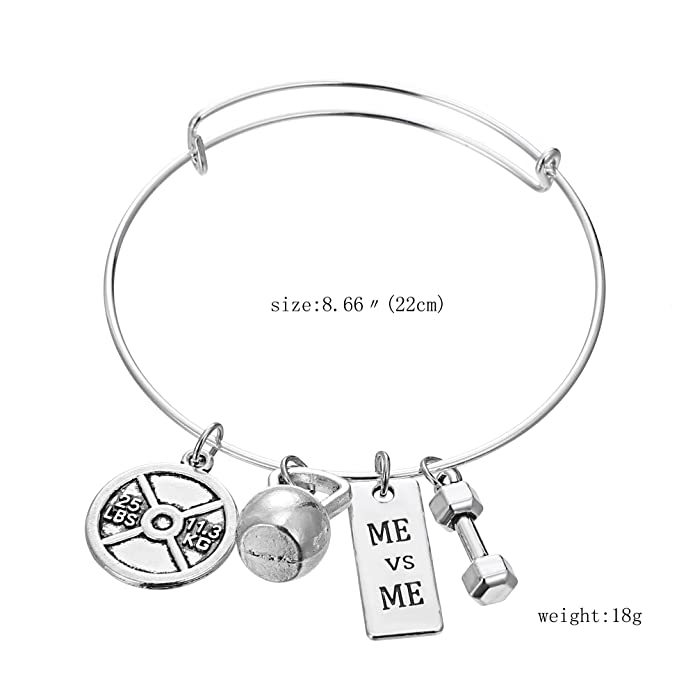 Amazon.com: iDMSON Stainless Steel Fitness Jewelry Set - Unisex Weight Lifting Necklace Barbell Kettlebell Bracelet Gym Dumbbell Keychain Workout Exercise ...