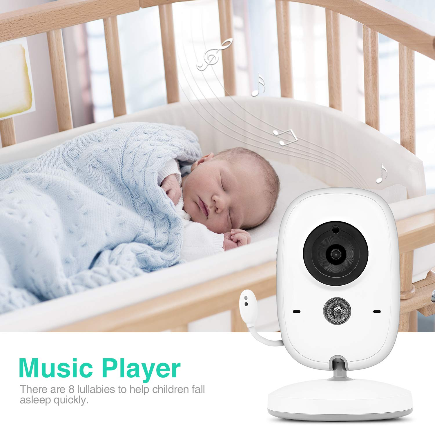 BOIFUN 3.2 LCD Color HD Screen 2.4 Ghz Wireless Baby Video Camera with 850ft Long Range Signal Baby Monitor 8 Crystal Lullabies 2 Way Audio,Temperature Mornitoring 16ft Infrared Night Vision