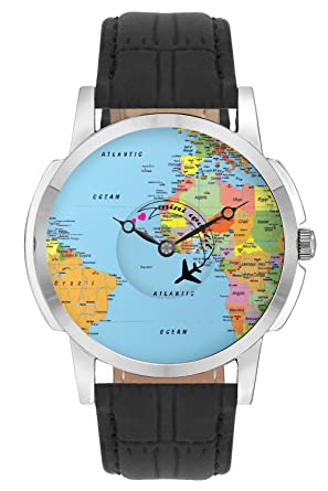 Buy bigowl casual analogue airplane world map design multicolor dial bigowl casual analogue airplane world map design multicolor dial mens watch 200map01 blk gumiabroncs Images