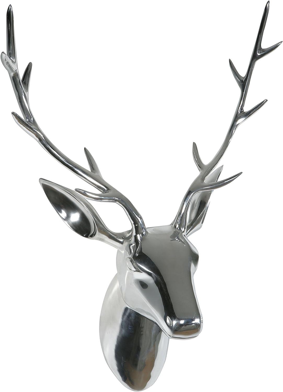 H 52 x B 34 x T 32 cm handpoliert Designer Deko Geweih//Troph/äe//Hirschgeweih mit Kopf aus Aluminium