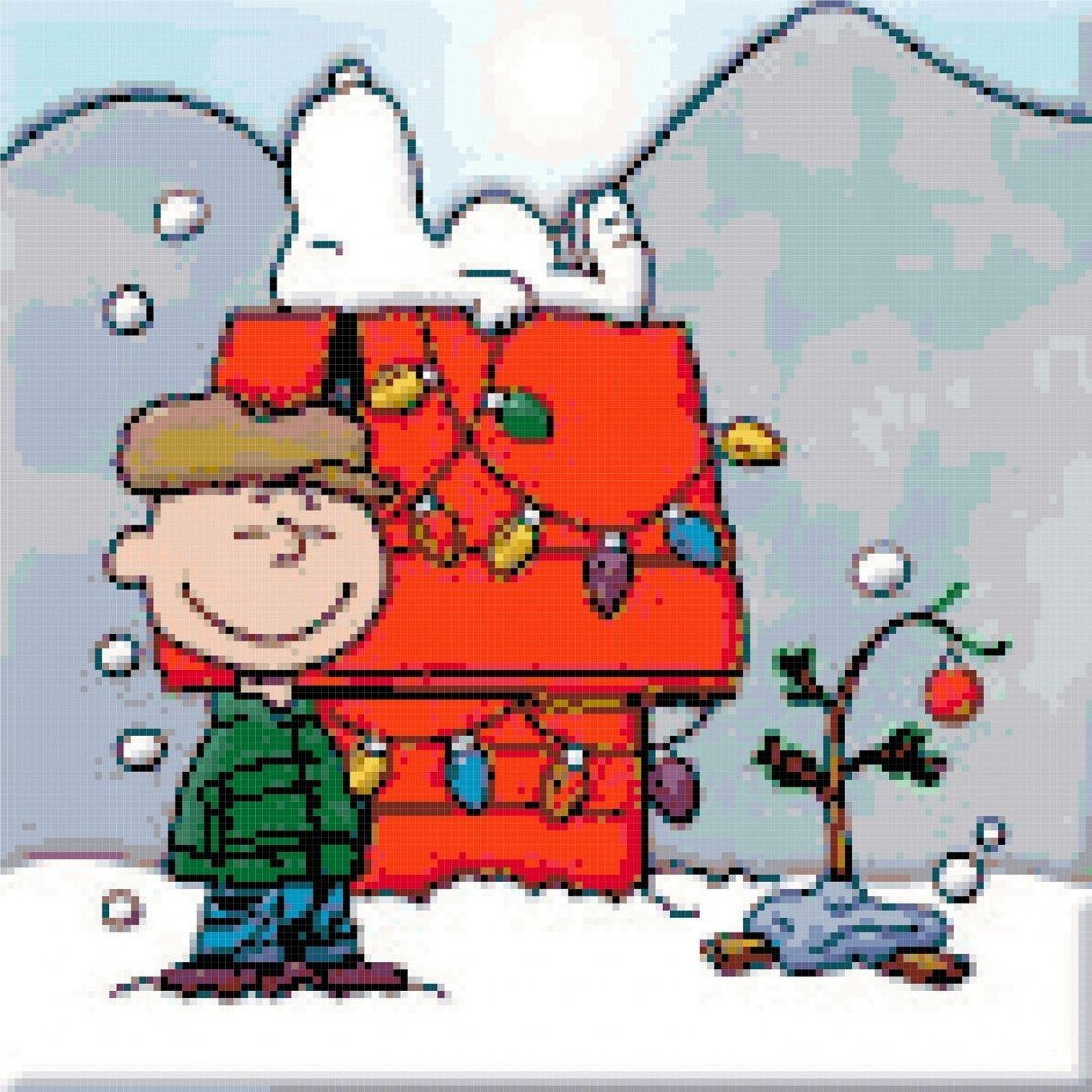 Peanuts Snoopy and Charlie Brown Christmas Tree Counted Cross Stitch Pattern