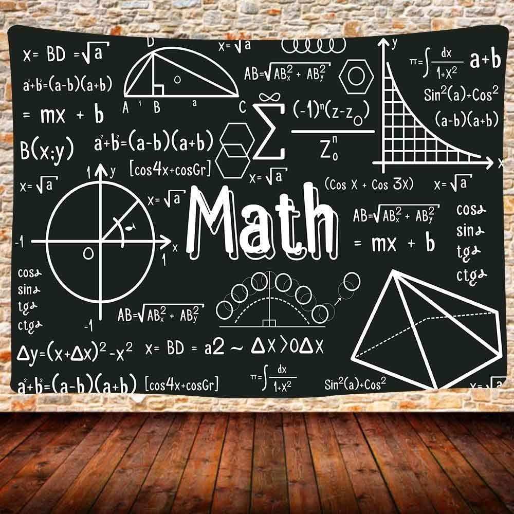 UHOMETAP Mathematics Tapestry, Blackboard Math Equations Geometry Wall Hanging Blanket, Classroom Teacher Students Dorm Bedroom Decor Tapestries 80x60 Inches GTDSUH2