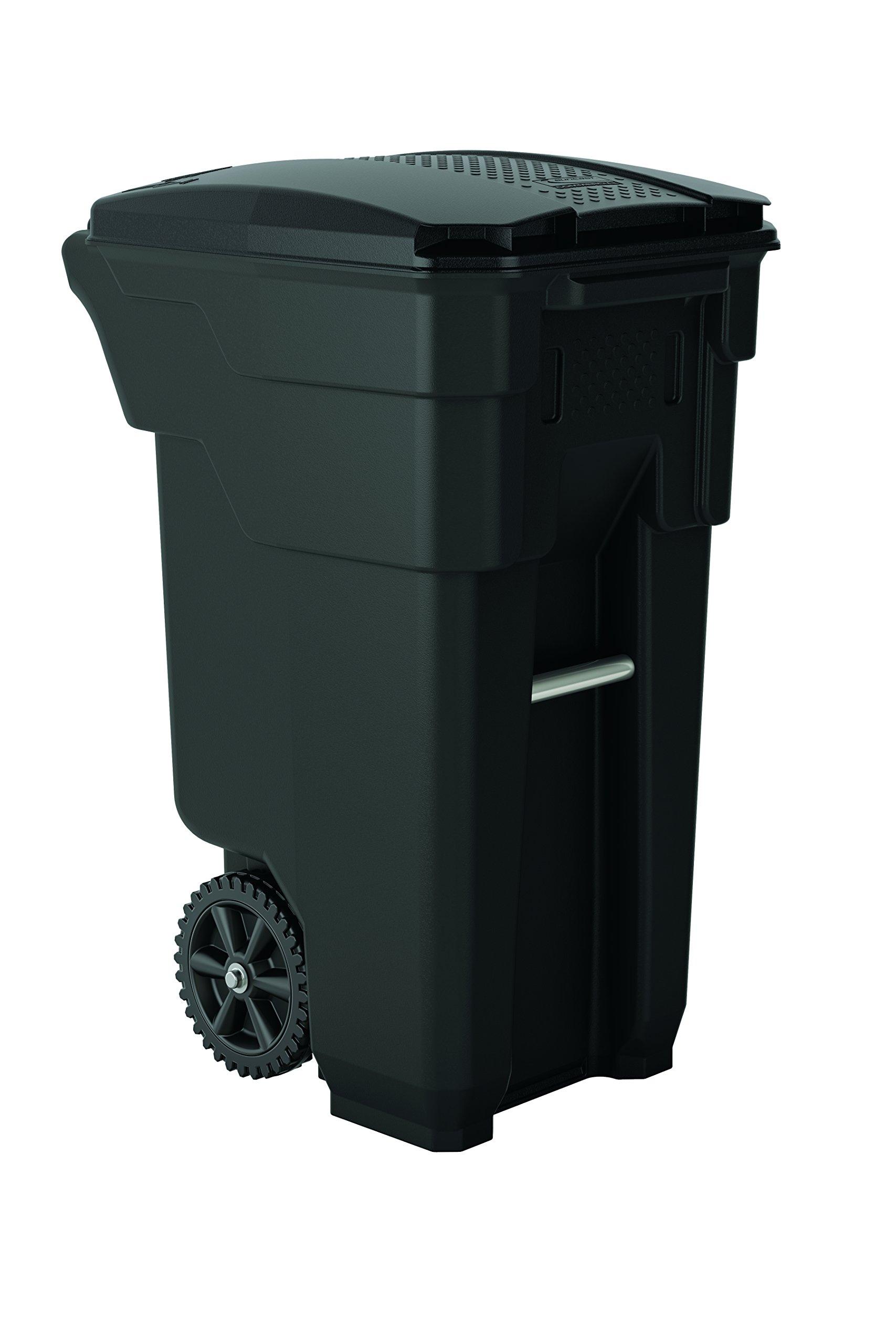 Suncast Commercial BMTCW32 Wheeled Trash Can, 36.5'' Height, 20.25'' Width, 26.5'' Length, 32 gal Capacity, Polyethylene, Gray