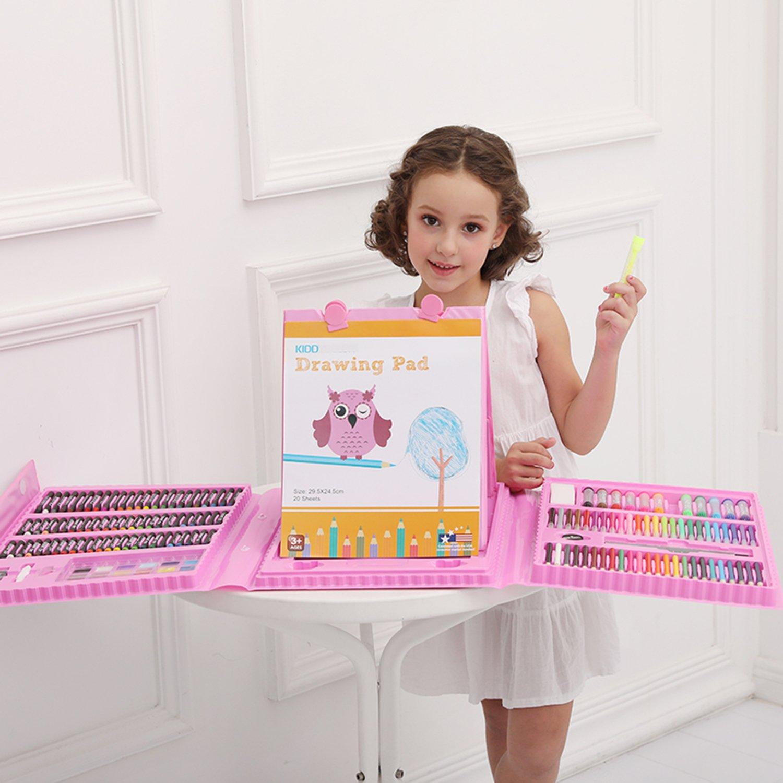 Mallette artiste avec Chevalet pour enfants Crayons de couleurs et feutres 176 pi/èces Rose