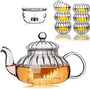 Glass Filtering Tea Maker with Warmer & Cups Pumpkin Set