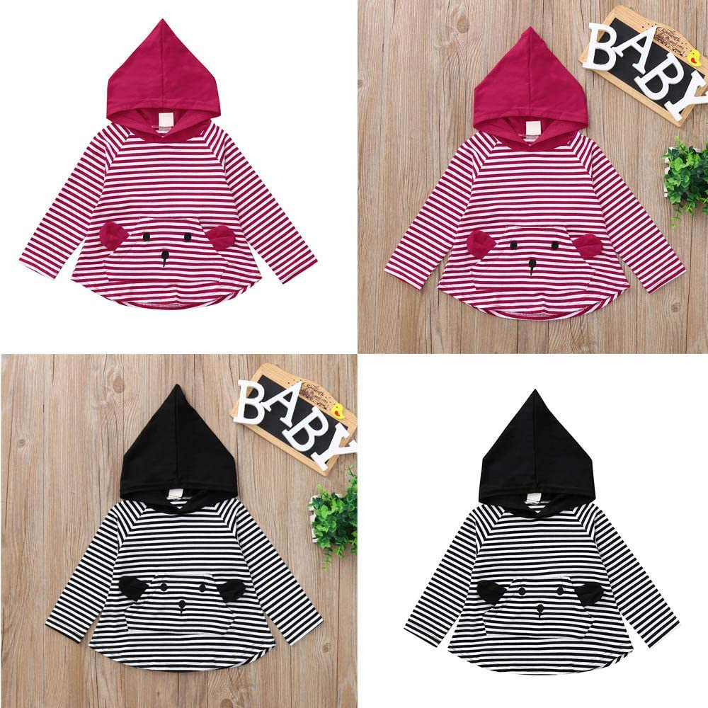 kaiCran Toddler Baby Casual Stripe Tops Long Sleeve Cotton Hooded Tops T-Shirt Fall Clothes for Baby Boys Girls