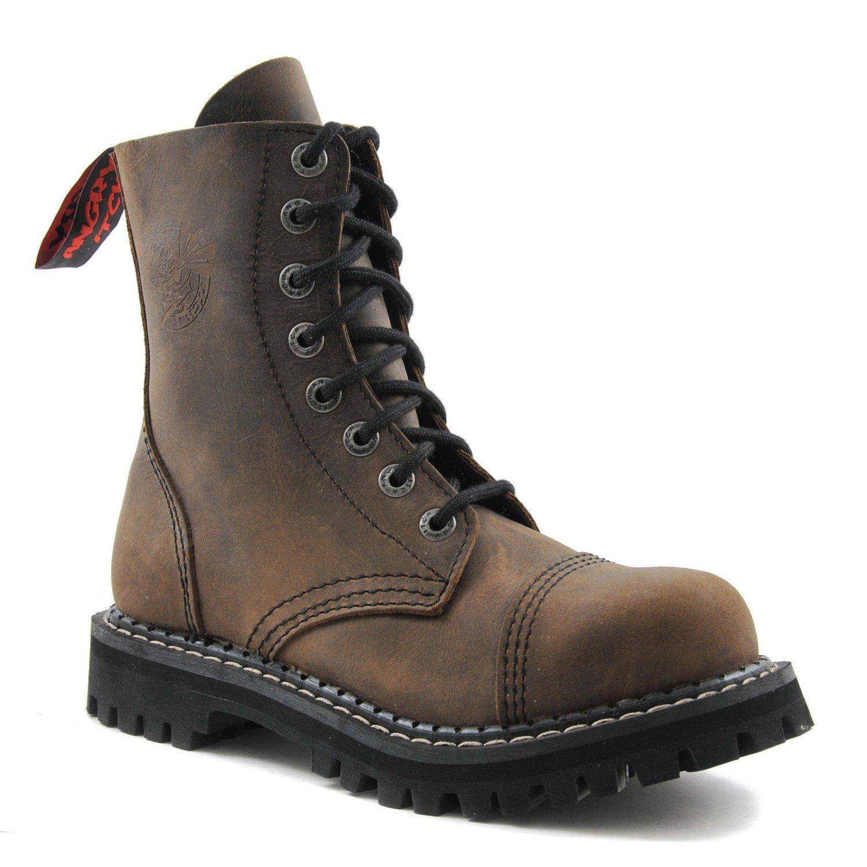 ANGRY ITCH Kampfstiefel Unisex Herren Damen Leder Braun Braun Braun Vintage 8 Löcher Army Militärstiefel Punk Stahlkappe 470f2e
