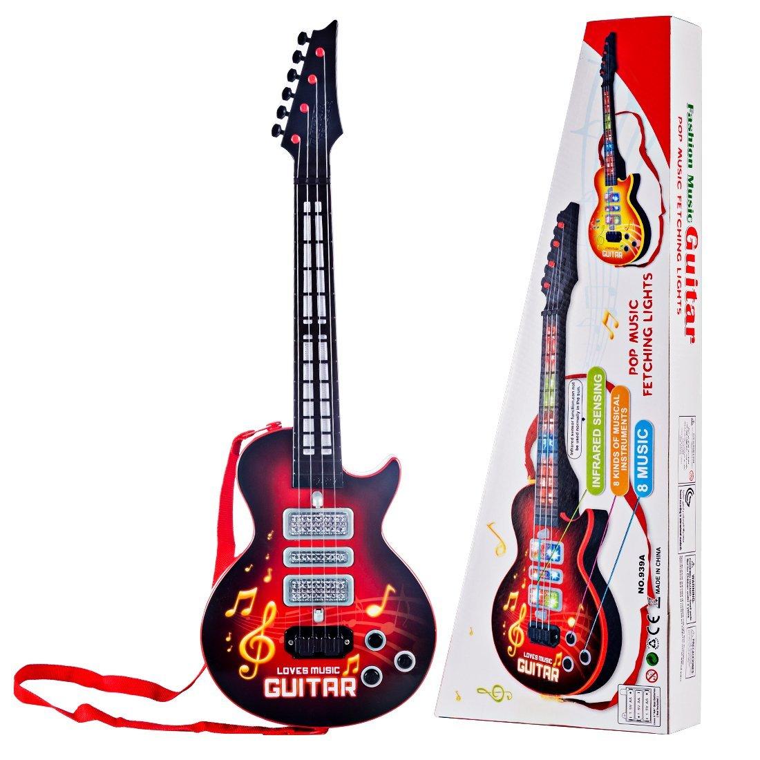 MRKE Guitarra Electrica Niños 4 Cuerdas Guitarra Juguete con Luces y 8 Música: Amazon.es: Juguetes y juegos