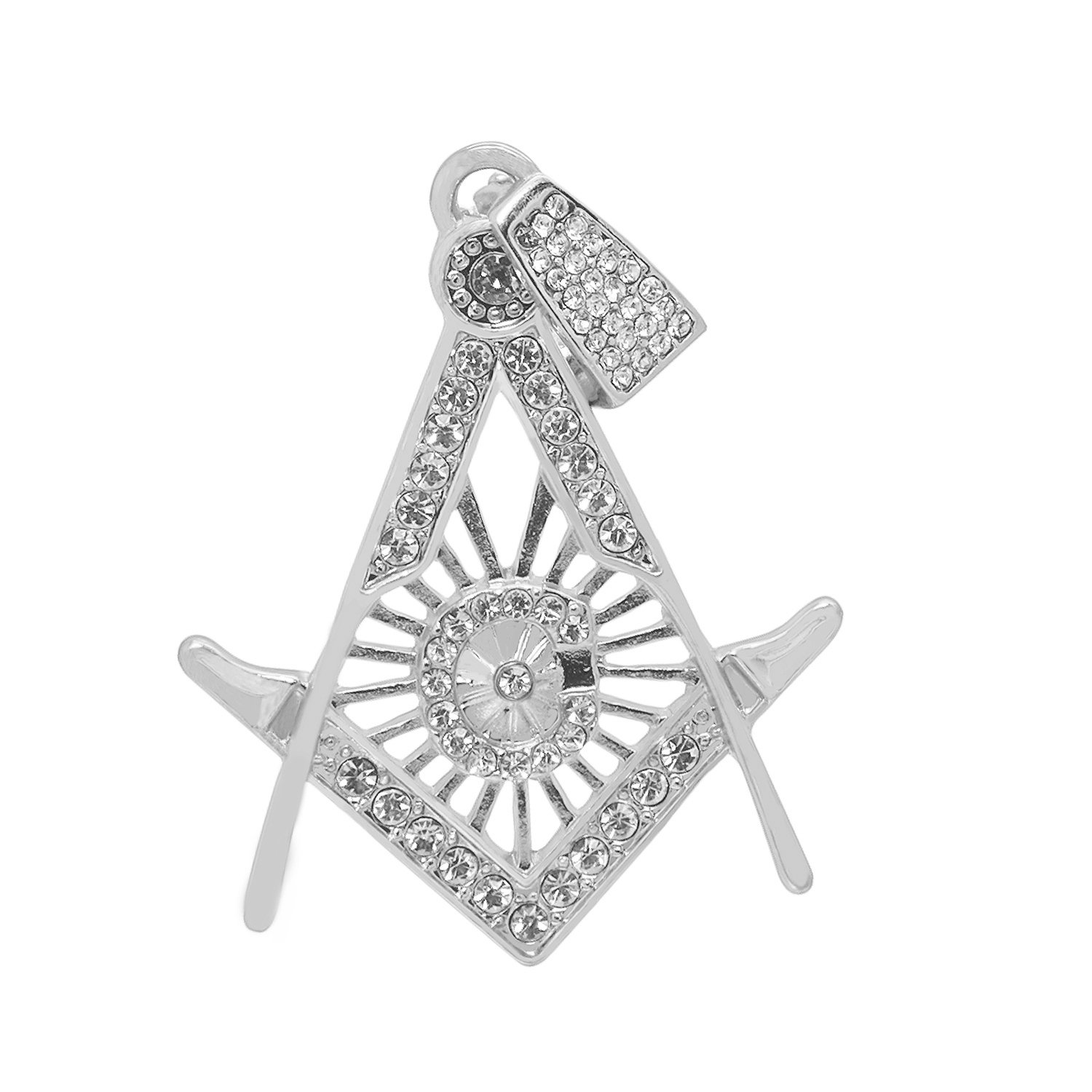 White Gold-Tone Hip Hop Bling Simulated Crystal Majestic Lion Pendant with 18 Tennis Chain and 24 Rope Chain