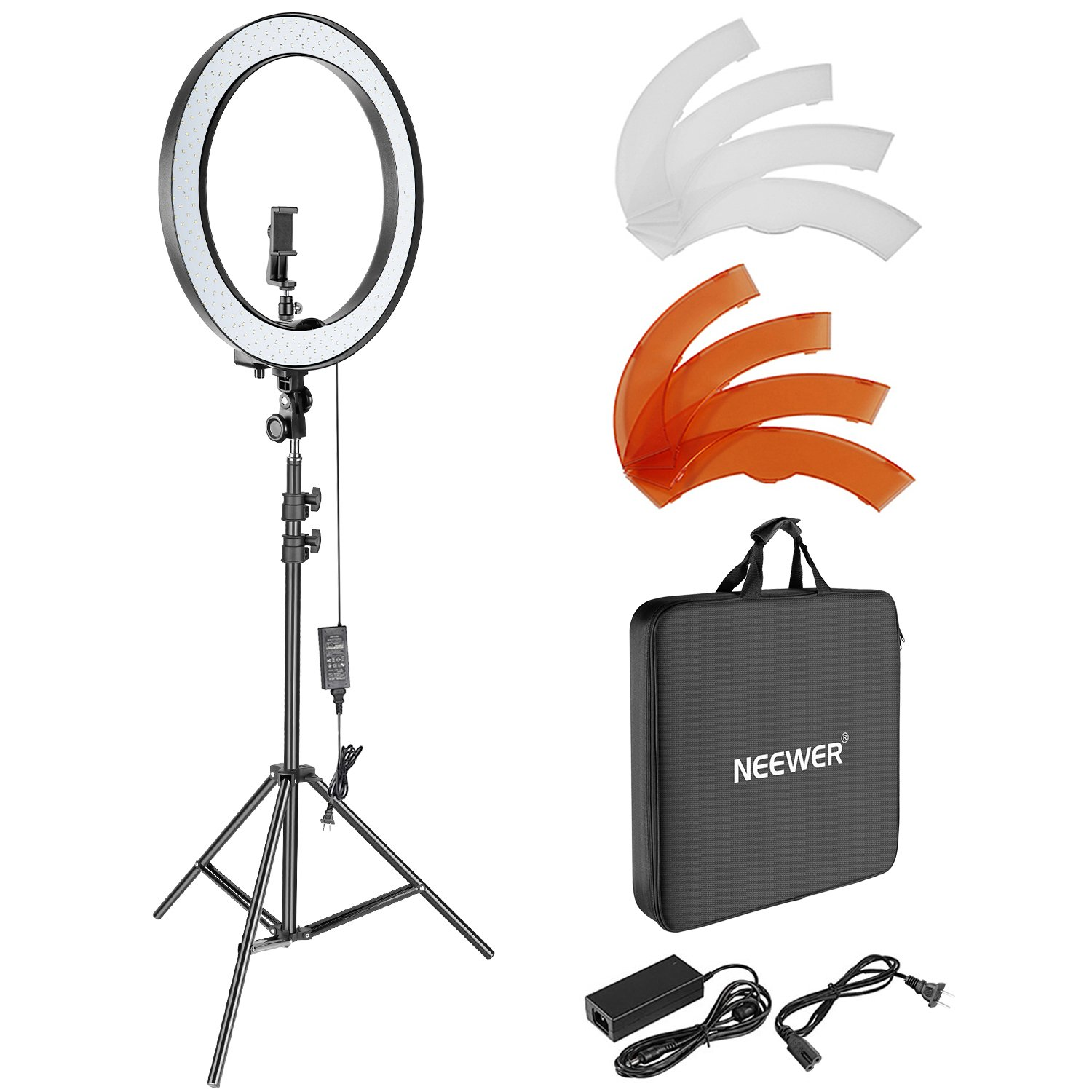 Neewer 18-inch Outer Dimmable SMD LED Ring Light Lighting Kit with 78.7-inch Light Stand, Rotatable Phone Holder, Hot Shoe Adapter, Filters and Carrying Bag for Selfie Portrait YouTube Video Shooting by Neewer