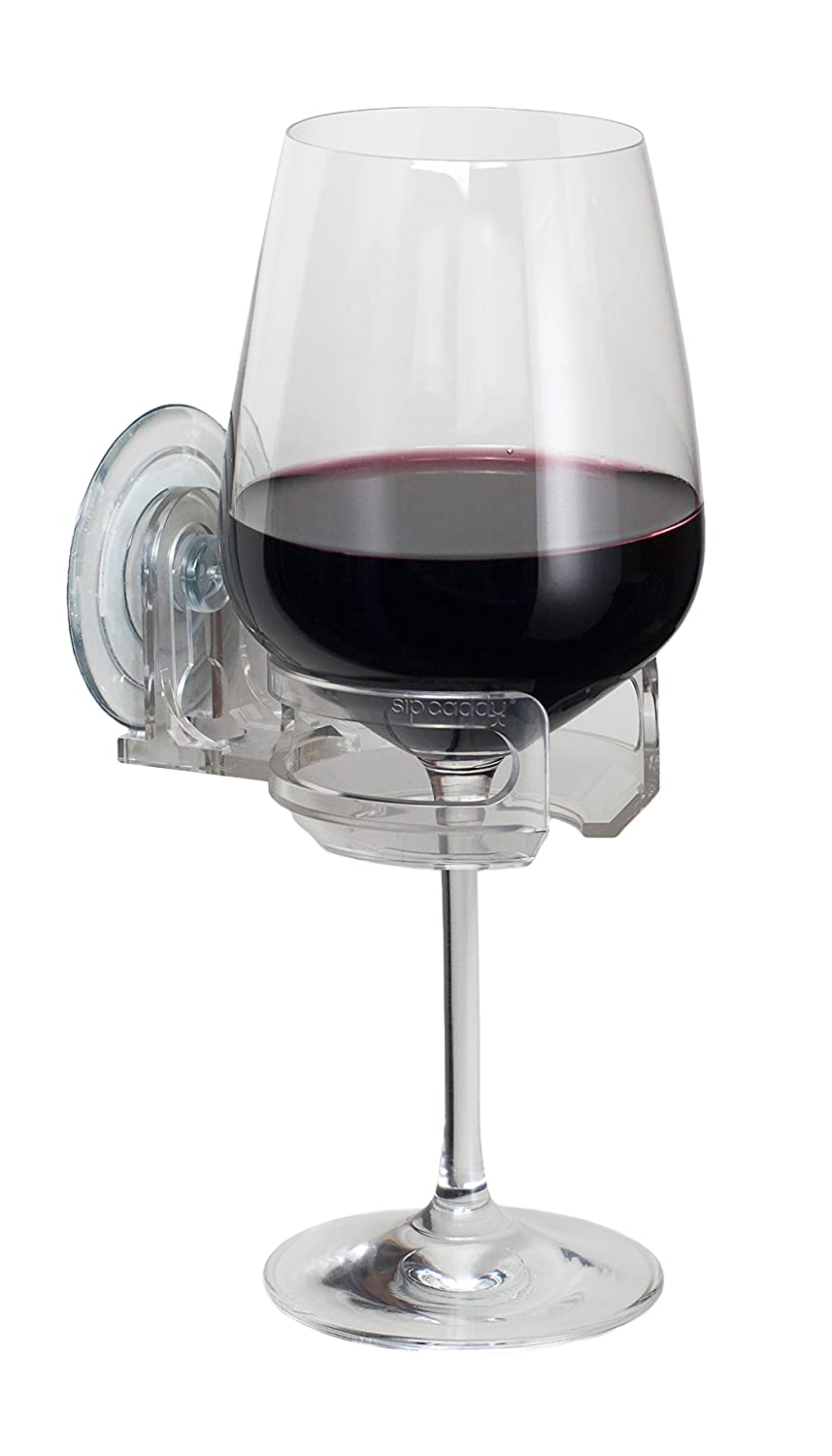 Wine Glass With Wine Part - 38: Amazon.com: SipCaddy Bath U0026 Shower Portable Suction Cupholder Caddy For  Beer U0026 Wine, Clear: Home U0026 Kitchen
