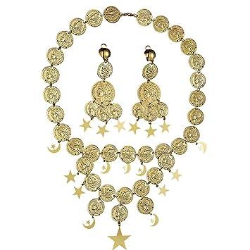 Modeschmuck gold set  Halskette und Ohrringe Bauchtanz Modeschmuck gold Orient ...