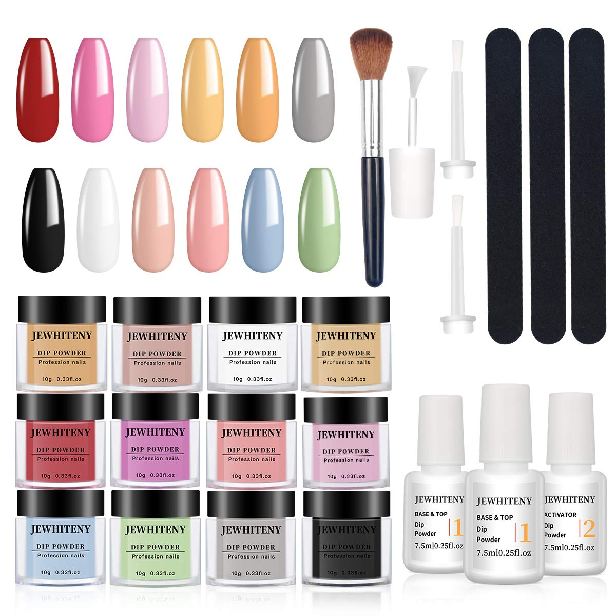 Nail Dip Powder Kit for Starter with 12 Color Acrylic Dip Nails