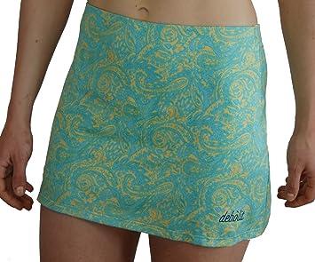 DEBOLIT - Falda Cachemire Turquesa. Faldas de Padel/Tenis con Pantalon. Estampada con Motivos de Cachemire en Turquesa Sobre Fondo Amarillo.