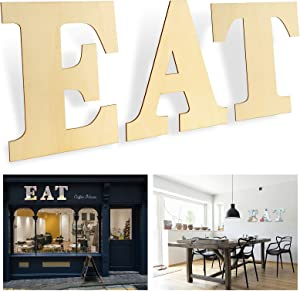 12 in Wood Letters EAT - Unfinished Blank Letters Sign Letter Wall Decor, Used for Dining Room, Kitchen, Home, Living Room Decor