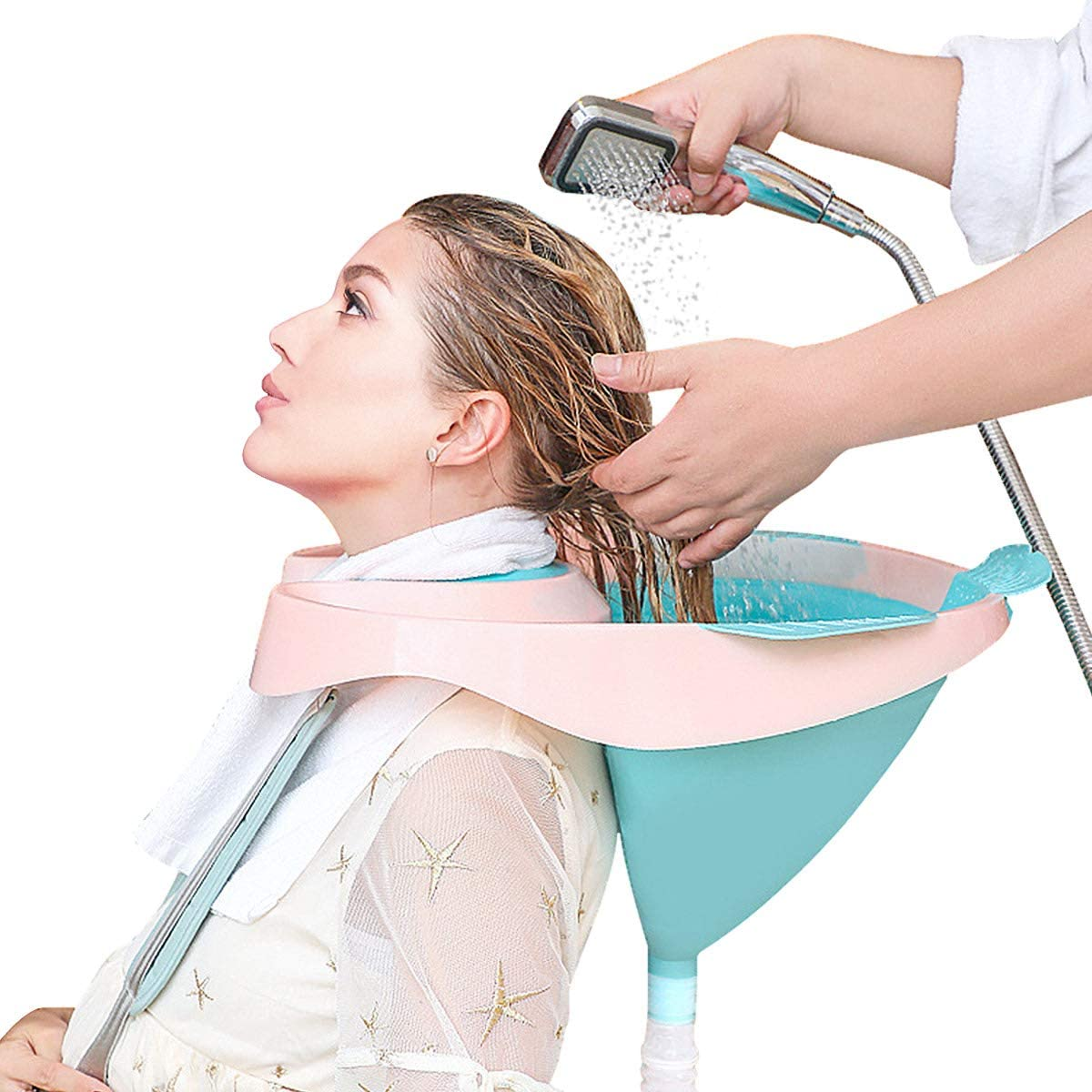 DECMAY Foldable Portable Shampoo Basin, Hair Washing Bowl Basin at Home with Strap and Removable Draining Tube for Pregnant Women/Elderly/Disabled