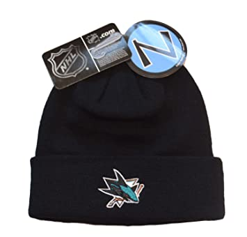 wholesale dealer 210ae 7daf8 San Jose Sharks Black Zephyr Beanie Hat - NHL Cuffed Winter Knit Toque Cap  by Zephyr  Amazon.co.uk  Sports   Outdoors