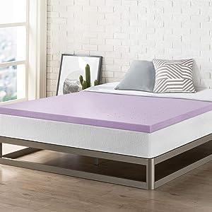 Best Price Mattress Short Queen Mattress Topper - 2 Inch Memory Foam Bed Topper with Lavender Cooling Mattress Pad, Short Queen Size