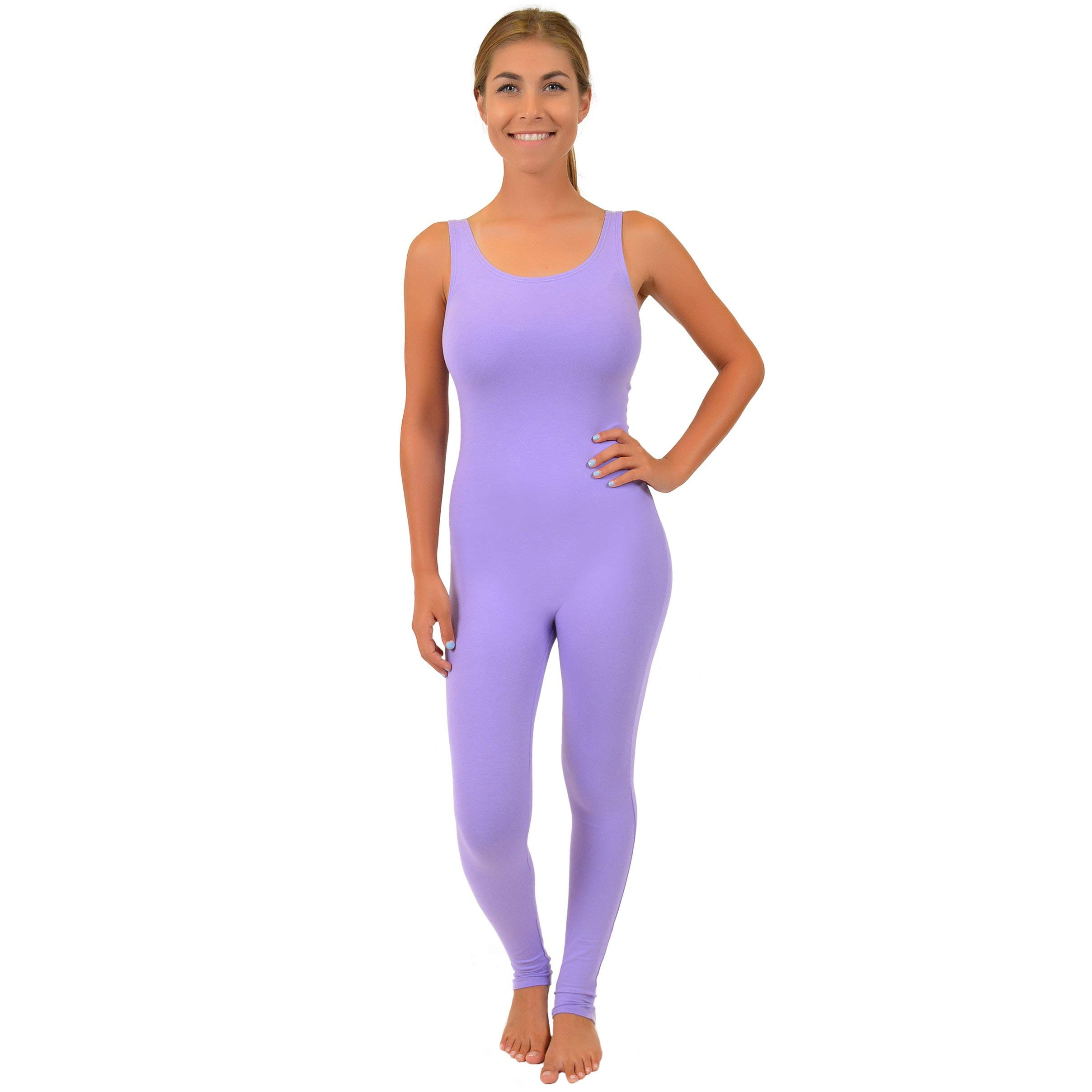 Stretch is Comfort Women's Comfortable Cotton Tank Unitard Lavender 2X by Stretch is Comfort