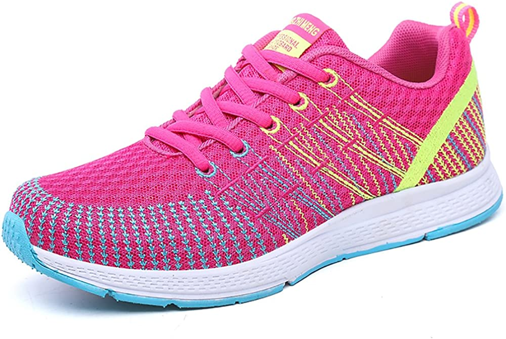 Womens Ladies Trainers Lace-up Fitness Sports Shoes Athletic Running Sneakers Pink-Yellow UK 4