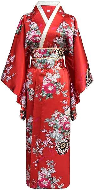 Kimono de japonesa-Disfraz para mujer, diseño de geisha rojo talla ...