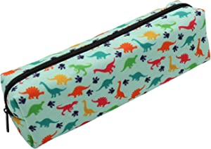 Pencil Case Holder Zipper Canvas Pen Pouch Bag for Boys Girls Kids Teens Teenagers Student Women Men (Dinosaur (Blue))