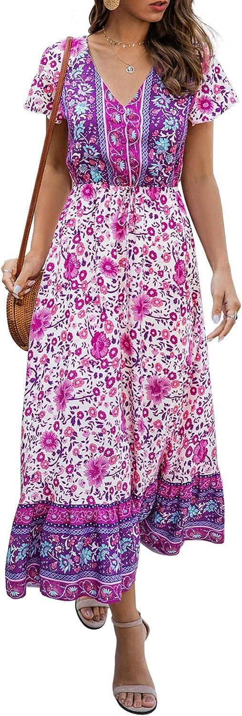 Toppshe Women Dress Summer Boho Floral Print V-Neck Short Sleeve Button Up Beach Maxi Dresses Sundress