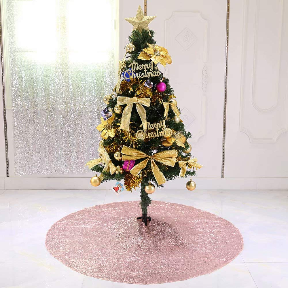 Zdada 48inch Rose Gold Christmas Tree Skirt Christmas Tree Decorations Sequin Christmas Tree Skirt Round