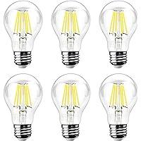 6-Pks. Ascher 8W E26 LED Classic Light Bulbs (Daylight White)