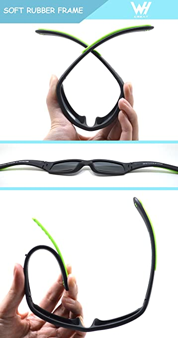 1886dbd5bf Kids Wrap Sport Polarized Sunglasses by WHCREAT Flexible Rubber Frame with  Anti-slip Band for Girls Boys Children Age 3-6 - Matte Black Frame Black  Lens  ...