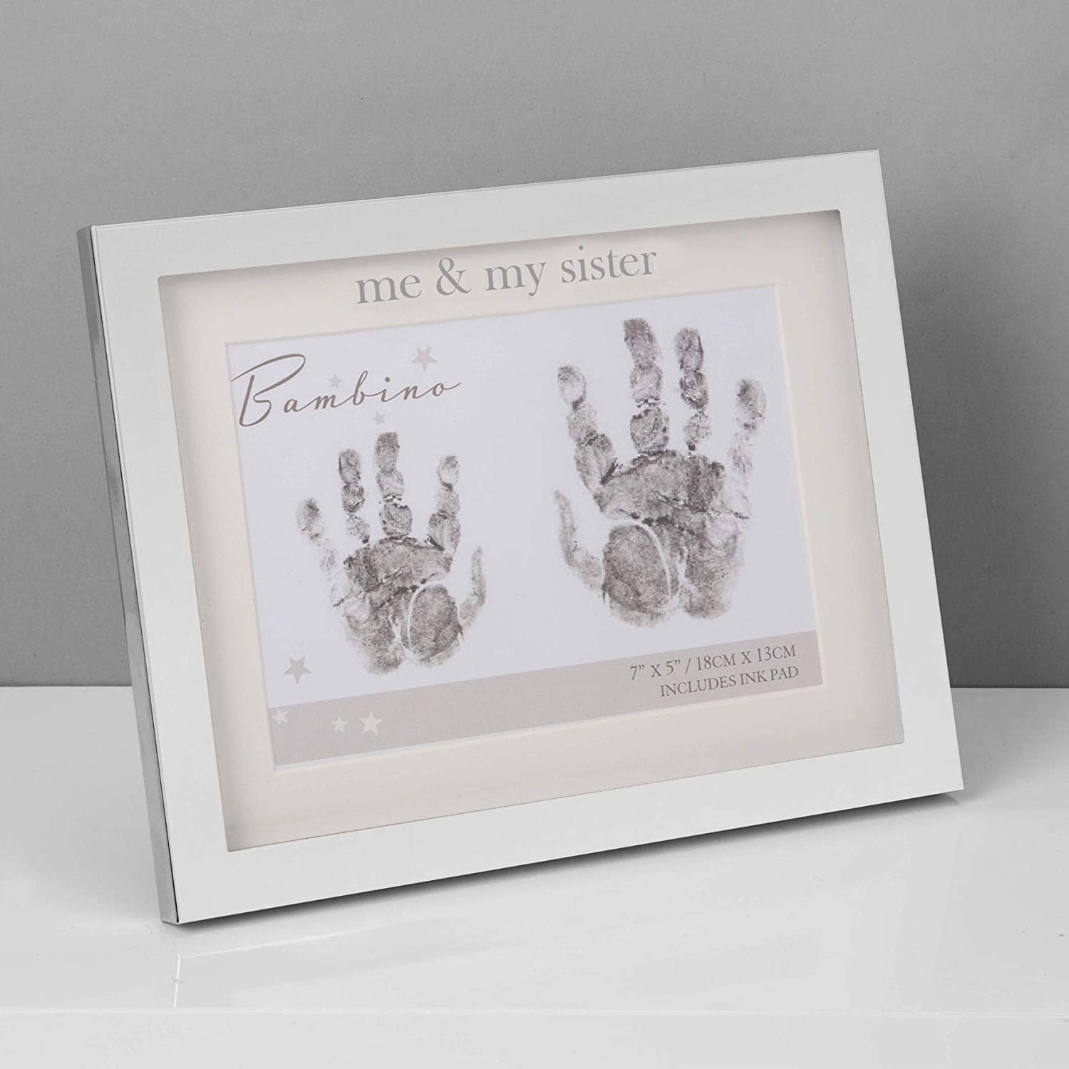 The Gift Experience Bambino Silver Plated Hand Print Frame Me /& My Sister 7x5
