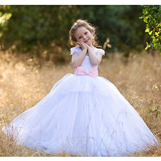 Amazon.com: Big Girls White Pink Gloria Lace Applique Tulle Ball ...