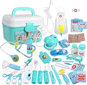 BestGK 45Pcs Doctor Kit for Kids, Pretend Play Doctor Toys, Medical Kit Doctor Play Set with Sturdy Gift Storage Box for Girls/ Boys/ School/ Classroom/ Costume Dress-Up/ Holiday Xmas Gifts