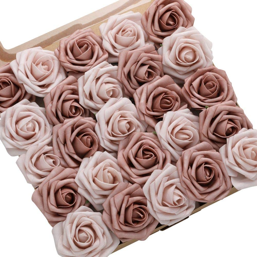 DerBlue 60pcs Artificial Roses Flowers Real Looking Fake Roses Artificial Foam Roses Decoration DIY for Wedding Bouquets Centerpieces,Arrangements Party Home Decorations (Warm Taupe & Nude Roses)