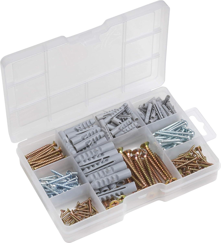 Meister 947320 - Caja de surtido de tornillos y tacos, 233 unidades